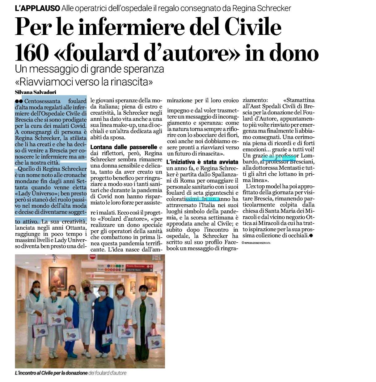 BresciaOggi - Per le infermiere del Civile 160 foulard in dono